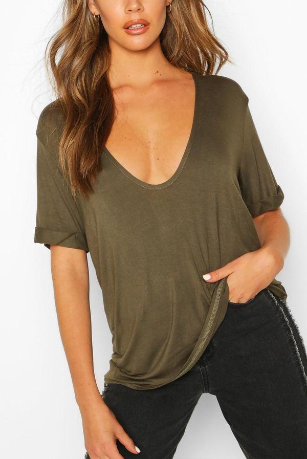 Plus Size Grey Extreme V Front Oversized T-Shirt