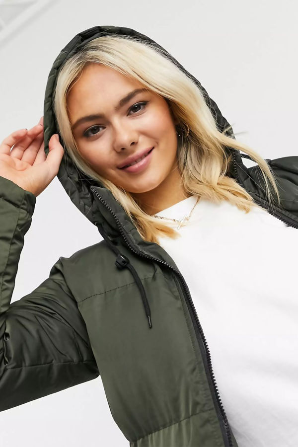 Khaki Longline Hooded Puffer Coat Pre Order