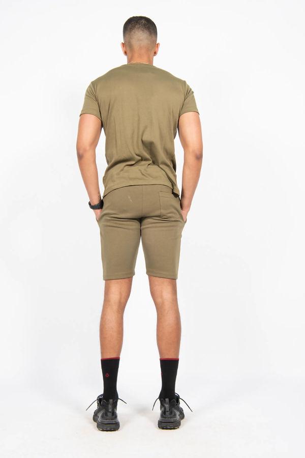 Khaki Pintuck T-shirt And Shorts Set