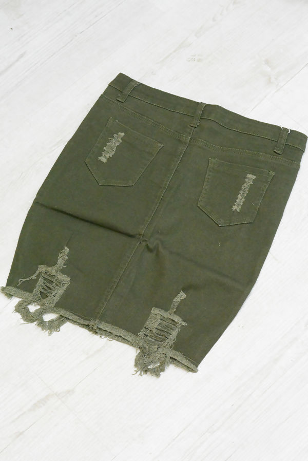 Khaki Pocket Distressed Denim Skirt