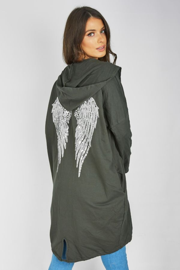 Khaki Sequin Angel Wing Hooded Cardigan
