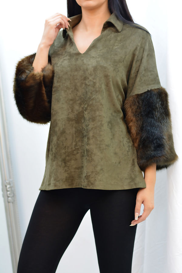 Black Suede Faux Fur Cuff Collar Top