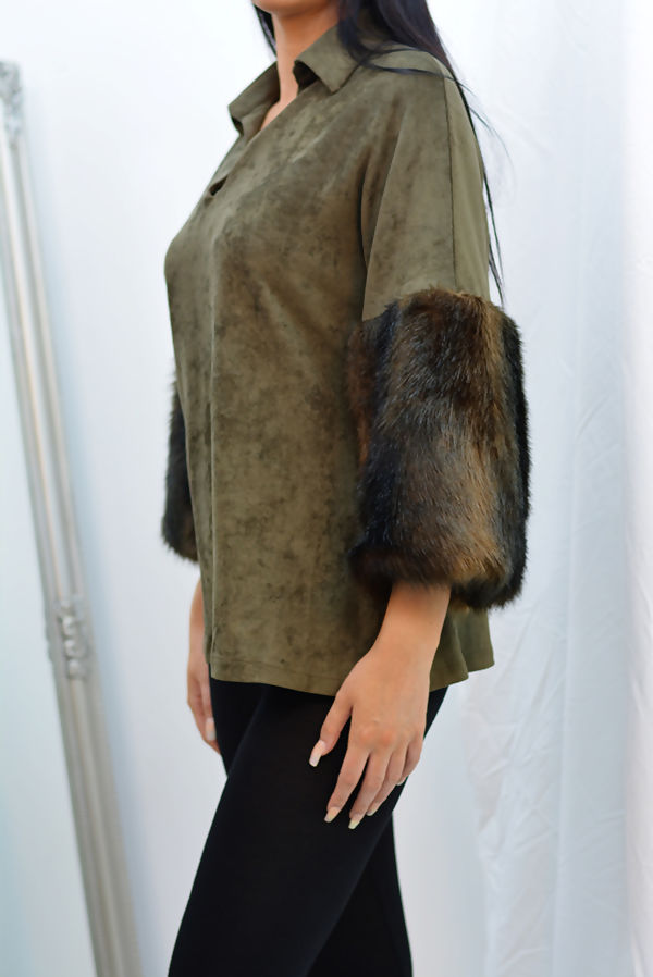 Charcoal Suede Faux Fur Cuff Collar Top