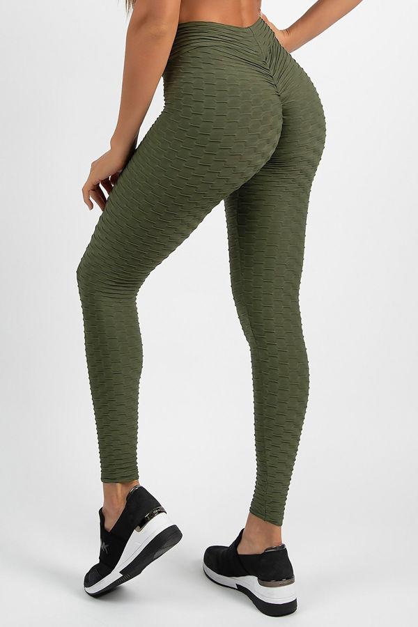 Khaki Textured Scrunch Butt Gym Leggings