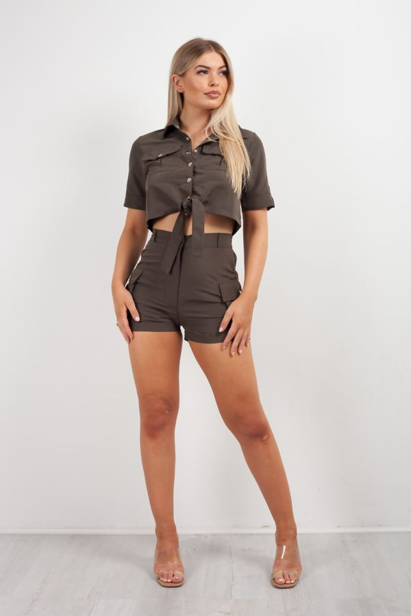 Khaki Utility Pockets Crop Shirt and Short Co-ord Set