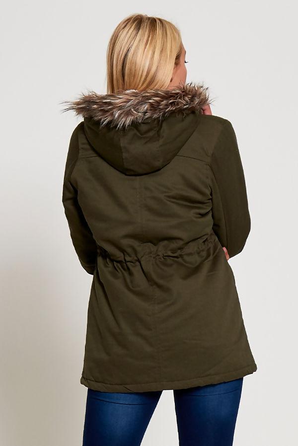 Black Zip Detail Parka With Faux Fur Hood