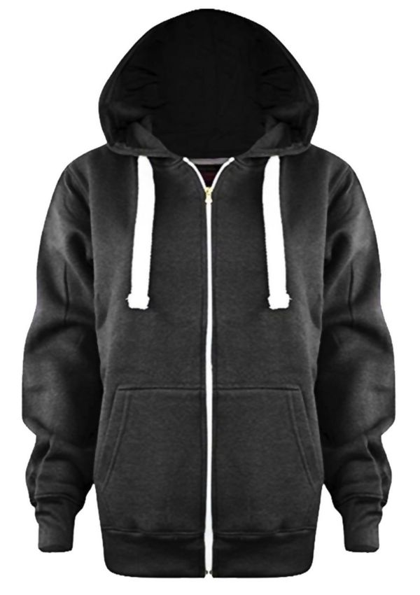 Kids Charcoal Basic Zip Up Hoodies