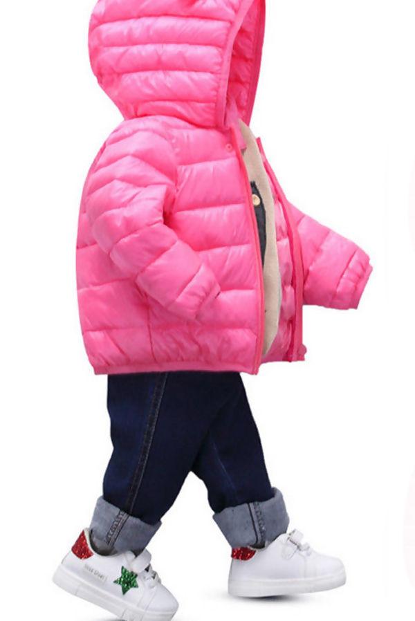Kids Fuchsia Hooded Puffer Jacket