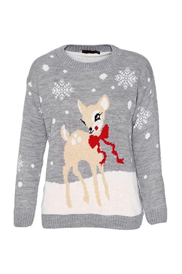Kids Grey Deer and Snowflake Christmas Jumper