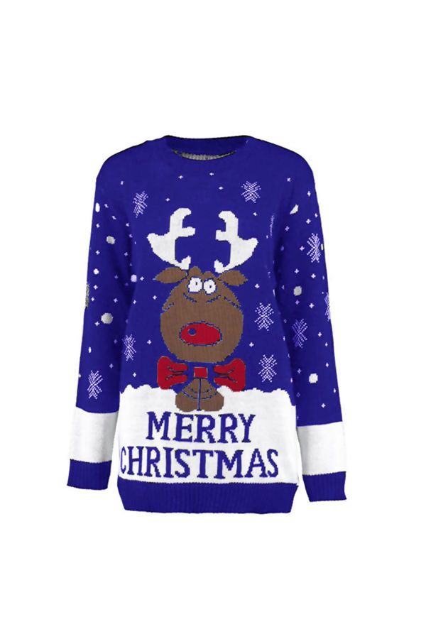 Kids Royal Blue Reindeer Bow Knitted Christmas Jumper