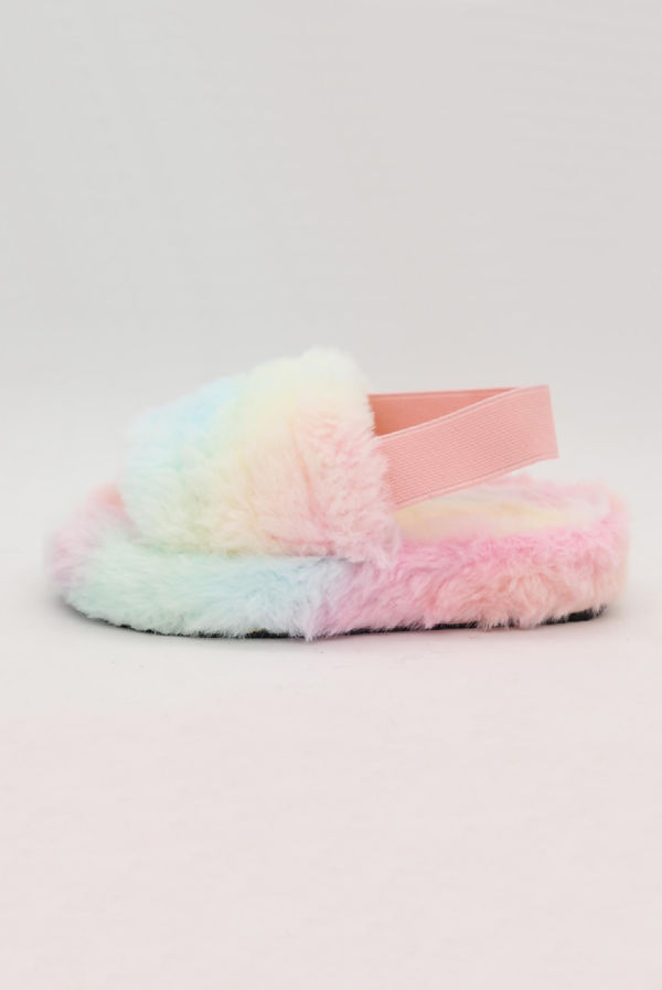 Kids Tie Dye Faux Fur Fluffy Stripe Slipper