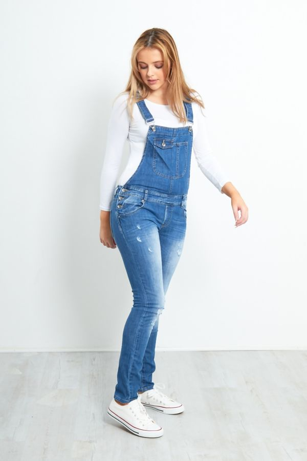 Blue Ripped Overall Jeans With Pocket