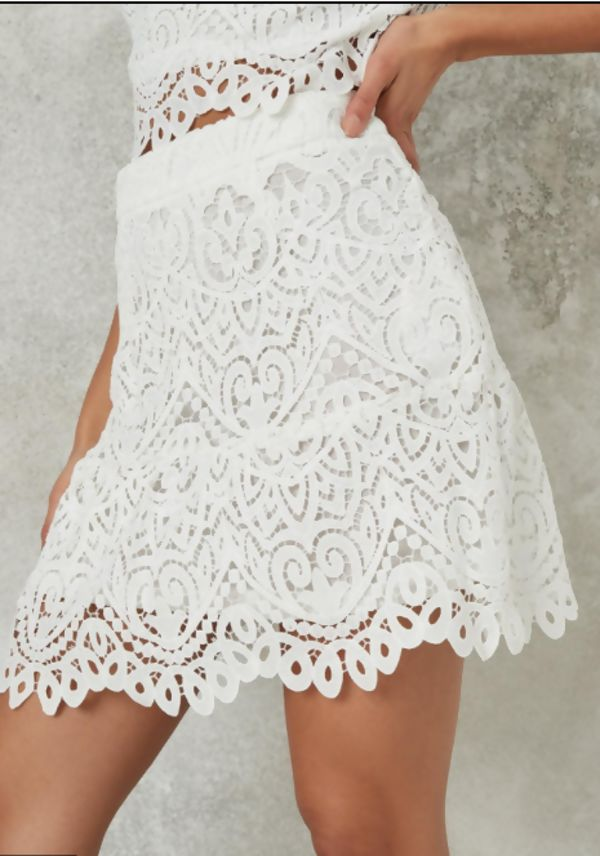 White Off Shoulder Lace Crop Top And Skirt Co-ord