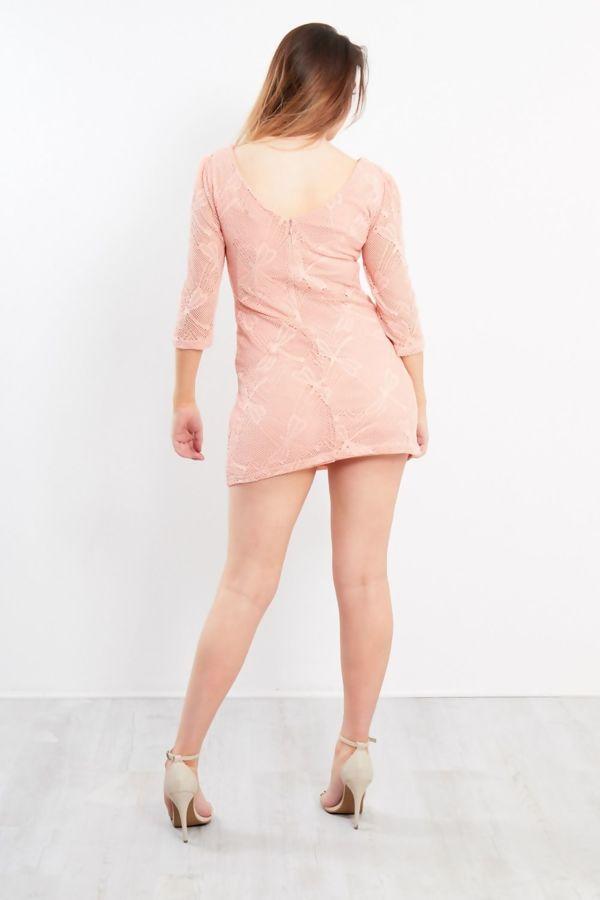Lace Overlay Shift Dress