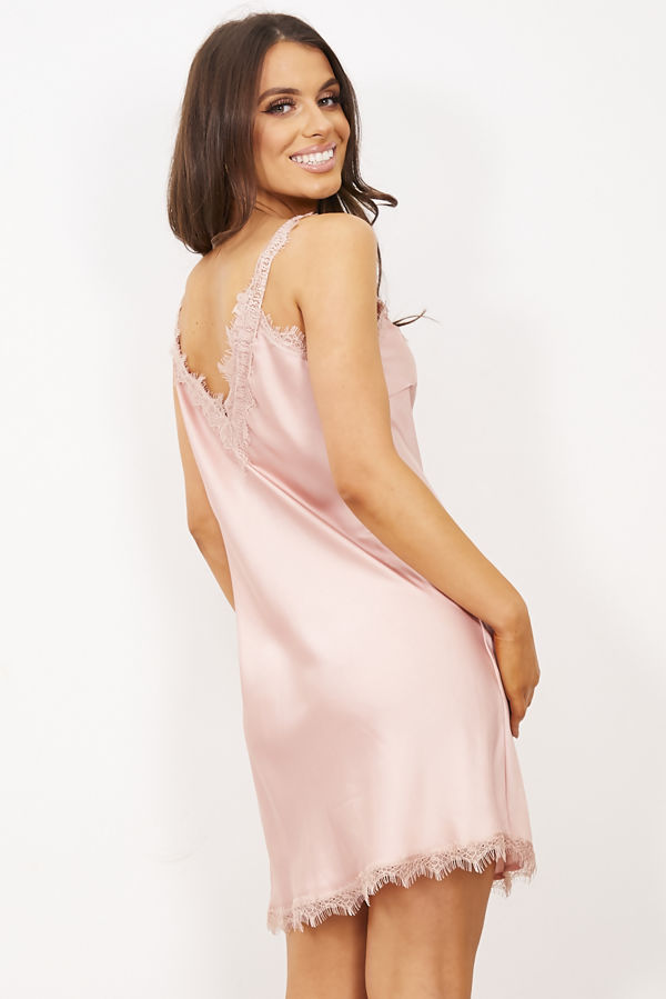 Lace Trim Satin Dress