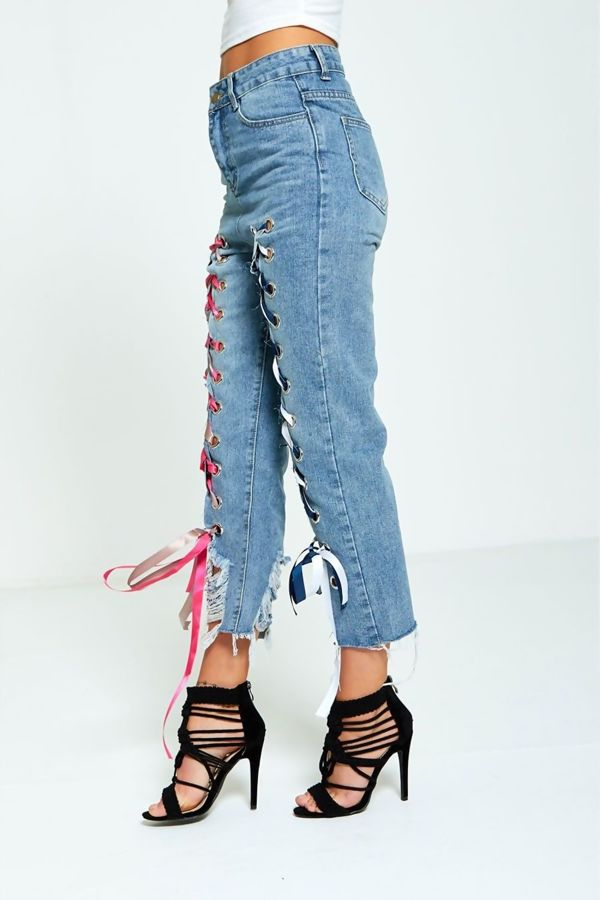 Lace Up High Waisted Distressed Hem Mom Jeans