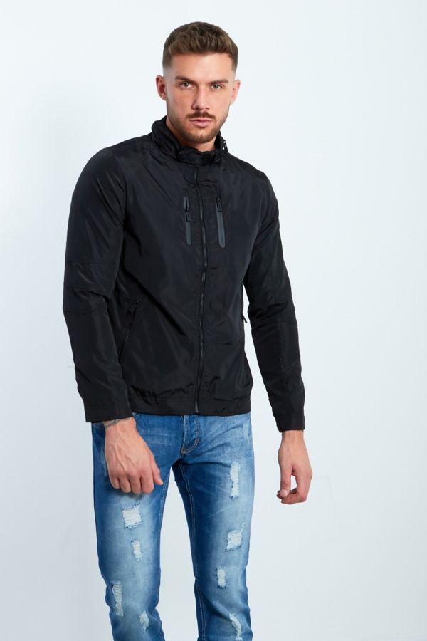Black Zip Through Light Weight Jacket