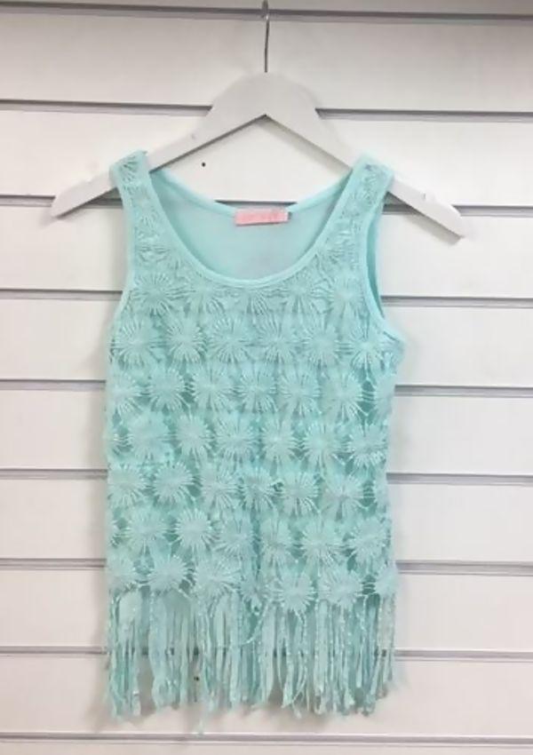 Aqua Crochet Overlay Hem Tassel Top