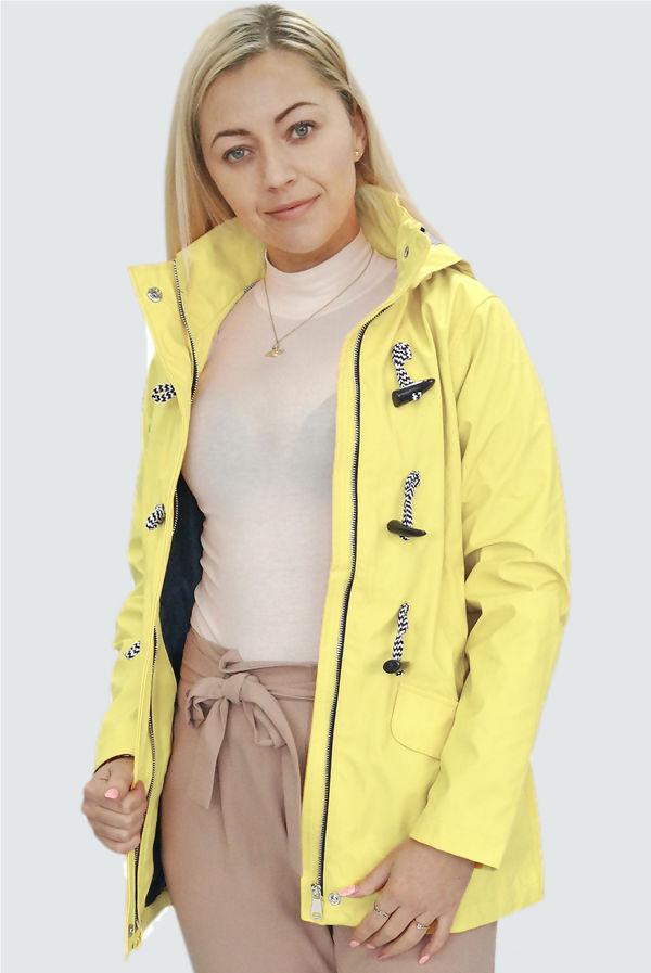 Lemon Rubberised Rain Mac With Toggles
