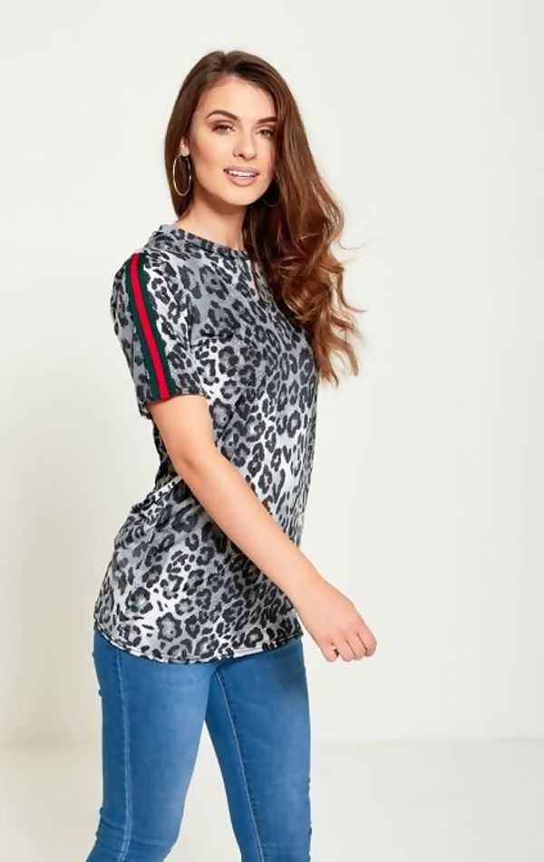 Plus Brown Leopard Print Stripe Tee