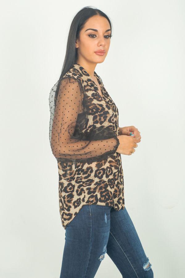 Leopard Print Polka Flounce Sleeve Shirt