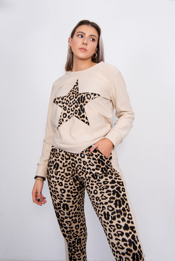 Leopard Print Star Lounge Tracksuit