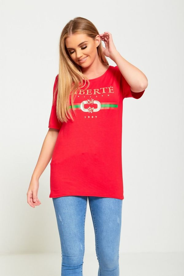 Liberte Longline Red T-Shirt Top