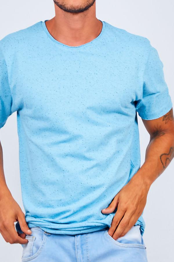 Light Blue Contrast Nepp Crew Neck T-shirt