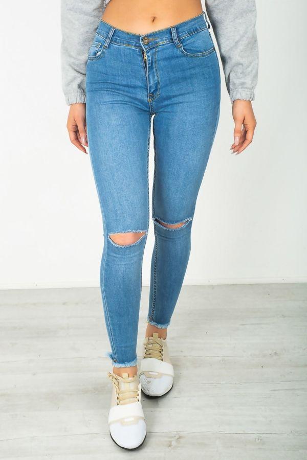 Light Blue Knee Ripped Hem Skinny Jeans