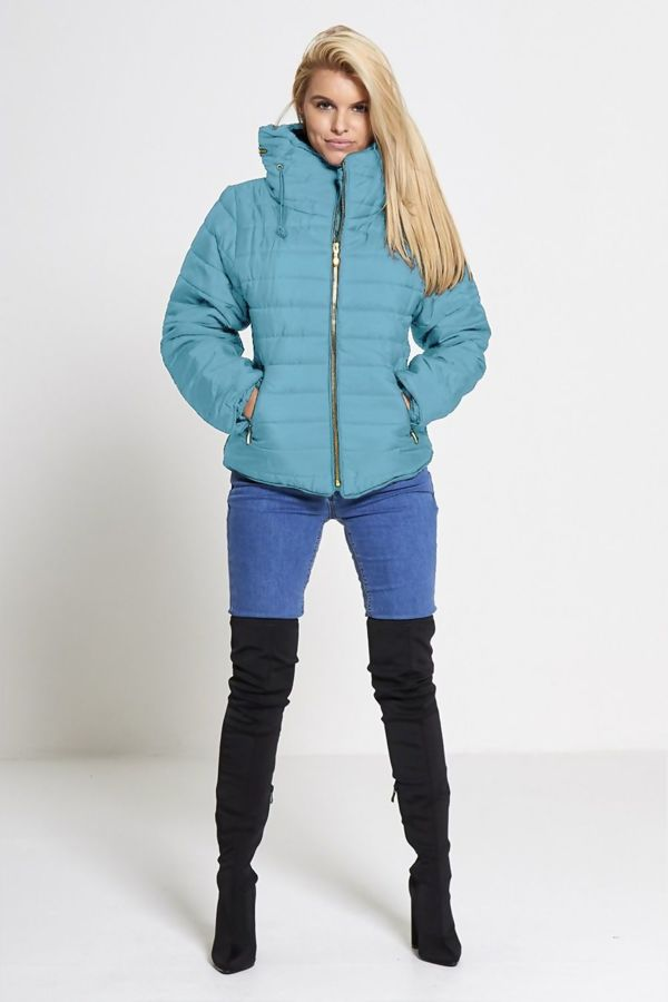 Light Blue Quilted Padded Puffer Bubble Fur Collar Jacket