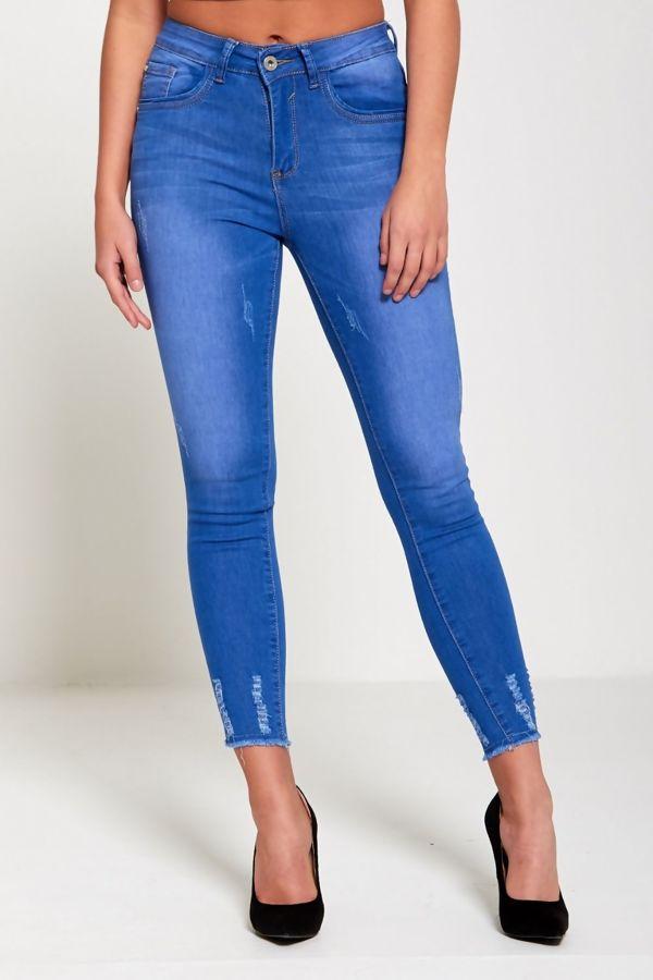 Light Distressed Hem Skinny Jeans
