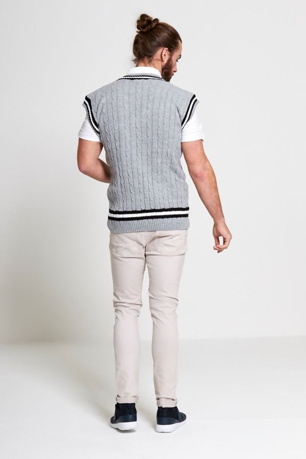 Light Grey Sleeveless Cable Knitted V Neck Cricket Jumper