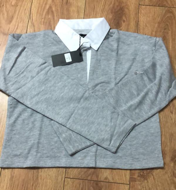Light Grey White Collar Polo Crop Top