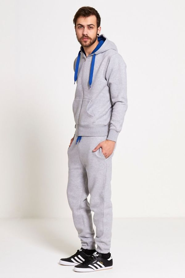 Light Grey With Blue Contrast Tracksuit