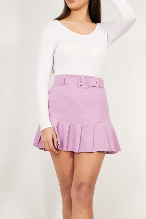 Lilac Frill Belted Skirt
