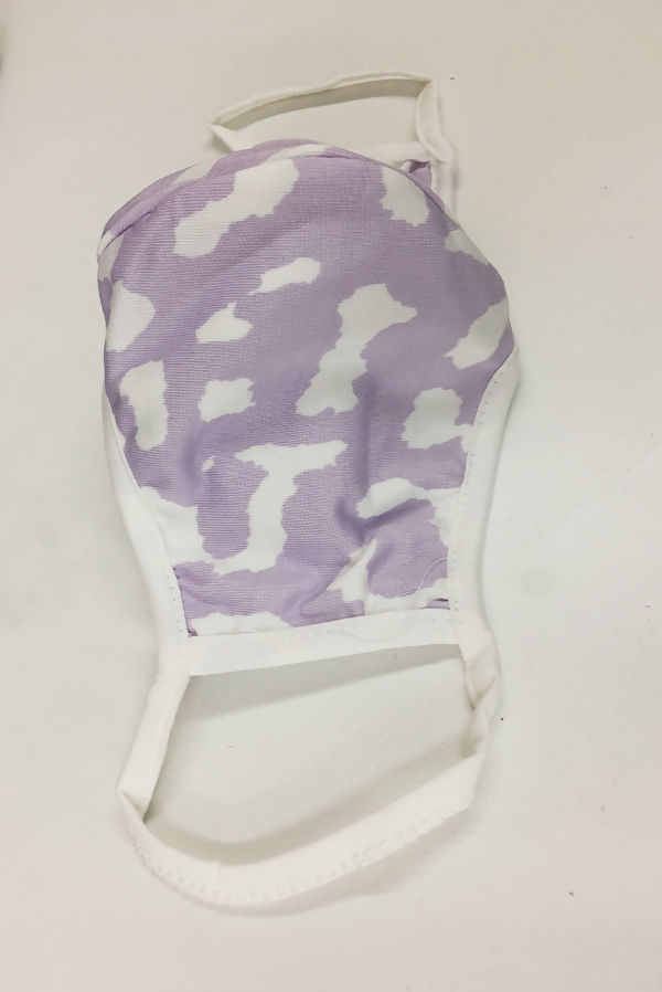 Lilac Leopard Print Viscose Face Mask
