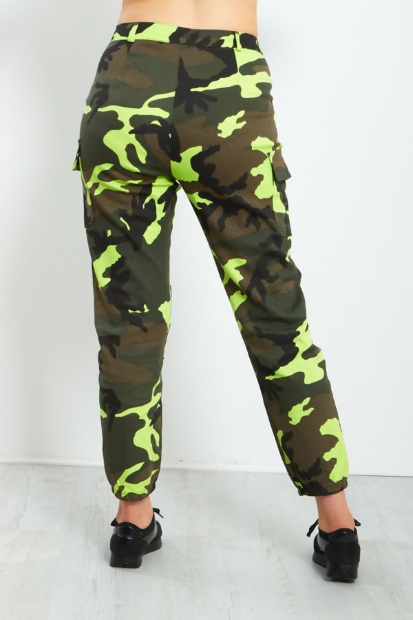 Lime Pocket Detail Camo Trousers