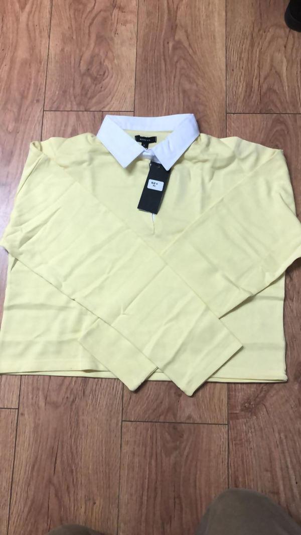 Lime White Collar Polo Crop Top