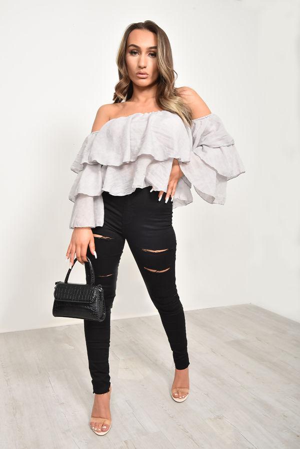 Grey Linen Bardot Tiered Sleeve Crop Top