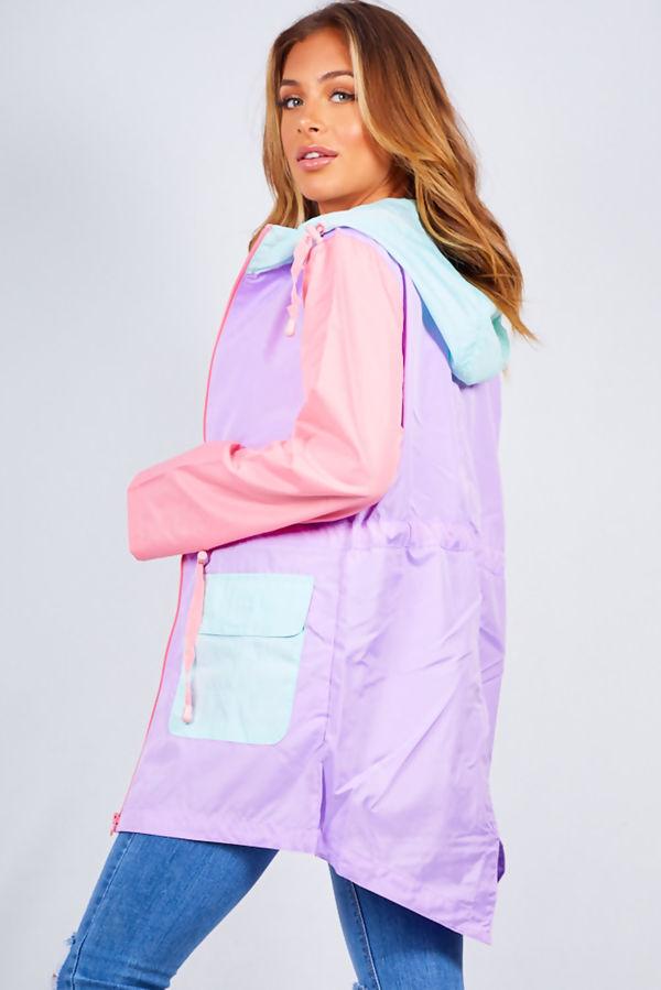 Contrast Drawcord Fishtail Rain Coat
