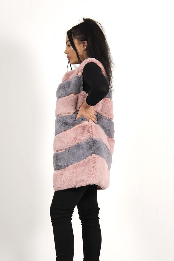 Pink Colourblock Faux Fur Panelled Gilet