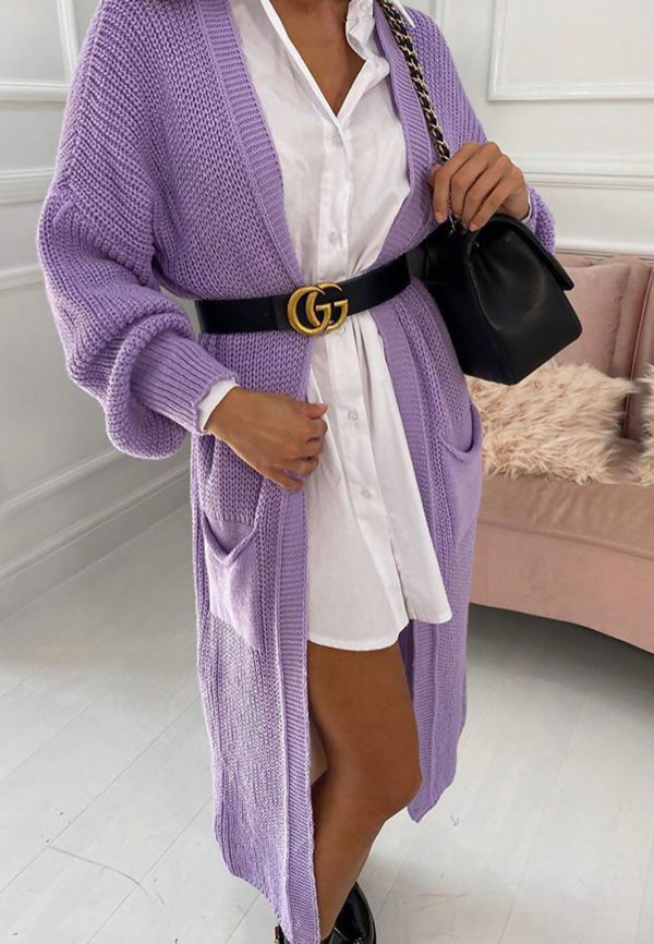 Longline Balloon Sleeve Knitted Cardigan