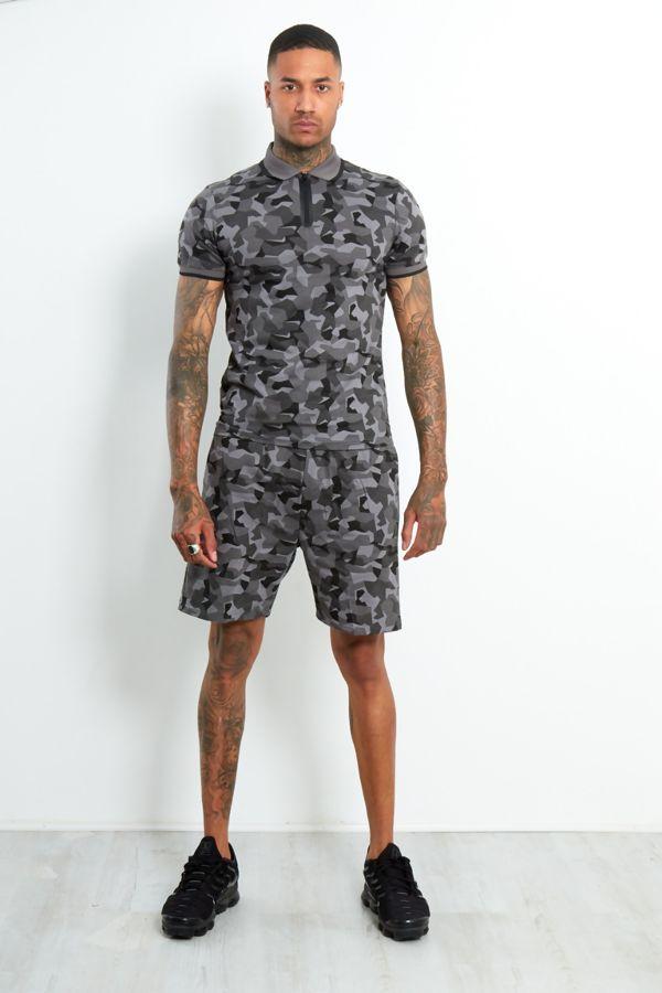 Charcoal camo polo zipper shorts set
