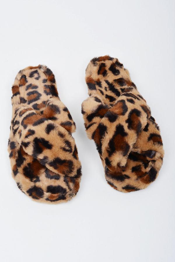 Leopard Cross Strap Slider Slippers