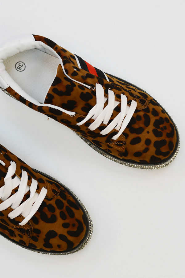 Leopard Diamante Studded Flatform Trainers