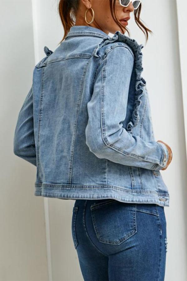 Light Blue Frill Shoulder Denim Jacket