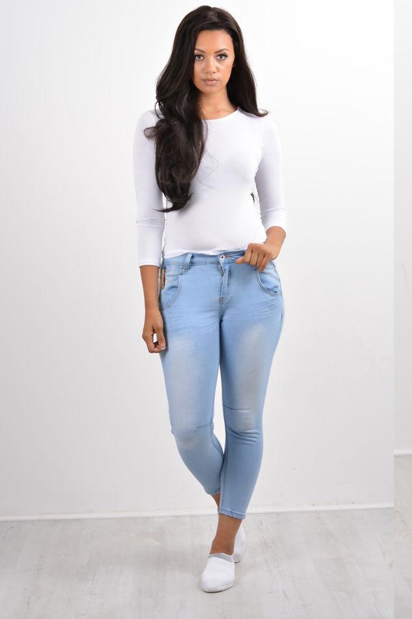 Light Blue Pocket Zipper Skinny Fit Jeans