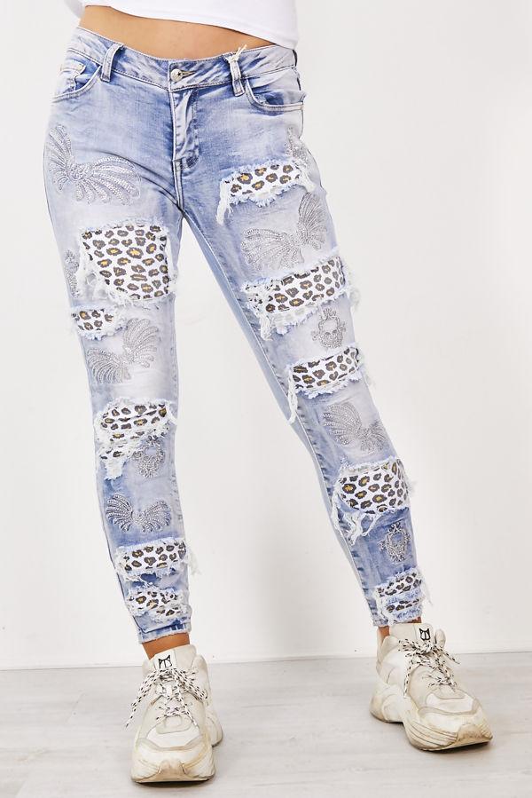 Light Blue Ripped Leopard Print Patchwork Jeans