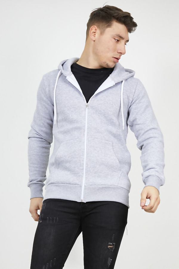 Light Grey Plain American Fleece Zip Up Hoody Jacket-