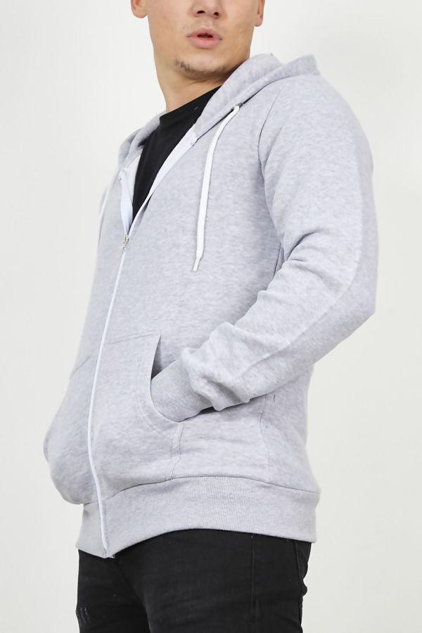 Light Grey Plain American Fleece Zip Up Hoody Jacket-